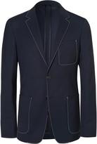 Prada Blue Contrast-Stitched Wool Blazer