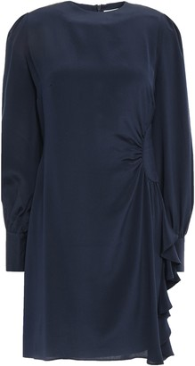 Zimmermann Ruched Silk Crepe De Chine Mini Dress