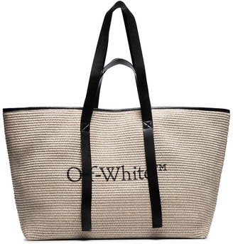 Off-White Commercial leather-trimmed logo-print raffia tote bag
