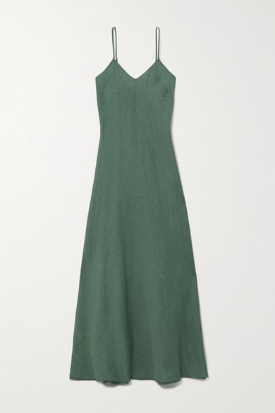 Miguelina Charlene Linen Maxi Dress - Green