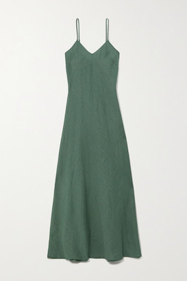 Miguelina Charlene Linen Maxi Dress - Green
