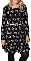 Yumi Plus Size Fan Print Skater Dress, Black/White