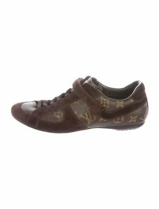 Louis Vuitton Leather Printed Sneakers Brown