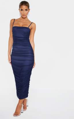 PrettyLittleThing Navy Strappy Mesh Ruched Midaxi Dress