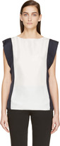 Lanvin White and Navy Silk Blouse