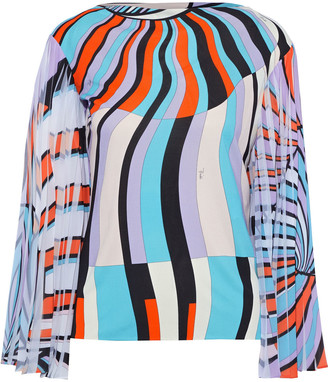 Emilio Pucci Printed Pleated Georgette-paneled Jersey Top