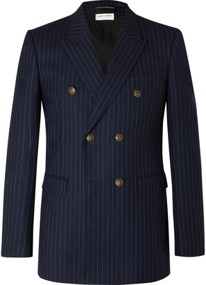 Saint Laurent Double-Breasted Pinstriped Wool-Flannel Blazer