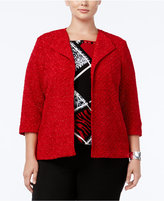 Alfred Dunner Plus Size Wrap It Up Collection Open-Front Bouclé Jacket