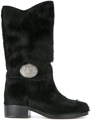 Chanel Pre Owned CC plaque boots