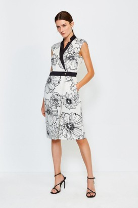Karen Millen Printed Wrap Sleeveless Tailored Dress