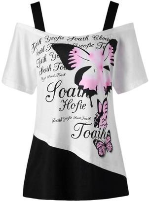 Xinantime  Women Tops Women Blouse Xinantime Summer Off Shoulder Butterfly Printing Top Casual Short Sleeve Shirt Blouse (XXL
