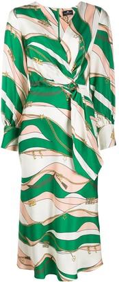 Elisabetta Franchi Contrast Print Silk Dress