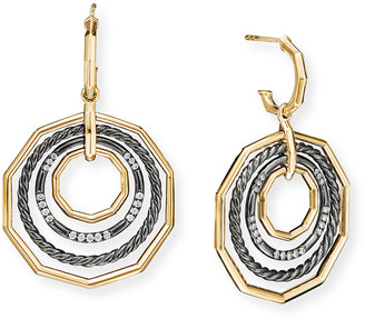 David Yurman Stax Drop Earrings with Diamonds, Black Rhodium and 18k Gold