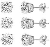 Bliss Cubic Zirconia & Sterling Silver Round Stud Earring Set