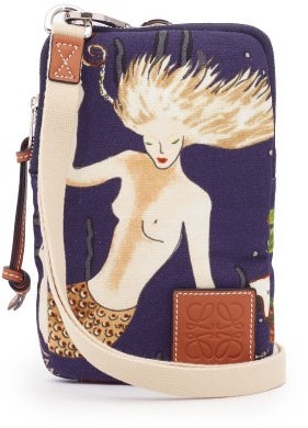 Loewe Paula's Ibiza - Mermaid-print Canvas Cross-body Pouch - Navy Multi