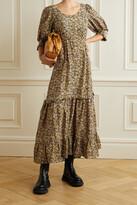 Thumbnail for your product : Rixo Kiara Ruffled Floral-print Silk Maxi Dress - Brown