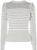 Karen Millen Stripe & Frill Jumper - Grey/multi