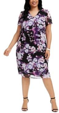 Connected Plus Size Floral-Print Chiffon Midi Dress