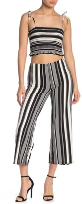 Dee Elly Striped High Waisted Crop Pants