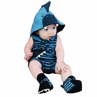 Weilov 0-24months Newborn Infant Boy Girl 3D Cartoon Shark Hooded Striped Romper Jumpsuit Outfits for Birthdays for Autumn Winter Blue
