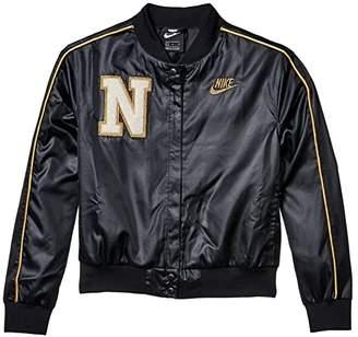 Nike Kids NSW Varsity Jacket (Little Kids/Big Kids) (Black/Sail/Club Gold/Metallic Gold) Girl's Clothing