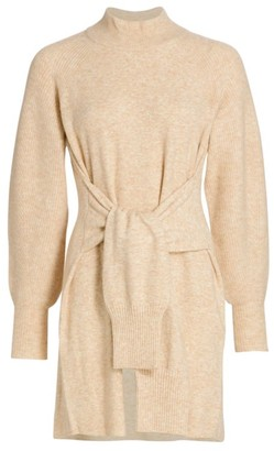 DH New York Kate Tie-Front Balloon-Sleeve Sweater Dress