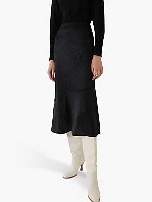 Warehouse Tiger Jacquard Pattern Midi Skirt, Black