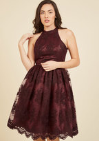 Liza Luxe Collection Distinguished Decadence Lace Dress in Wine