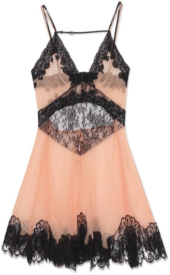 Gucci Chiffon and lace short slip dress