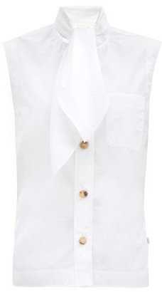 Chloé Tie-neck Sleeveless Cotton-poplin Blouse - White
