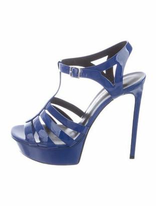 Saint Laurent Bianca 105 Patent Leather T-Strap Sandals Blue
