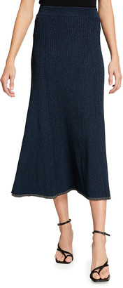 Jonathan Simkhai Ria Metallic Knit Pleated Midi Skirt