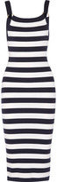 Michael Kors Striped Stretch Merino Wool-blend Dress - Midnight blue