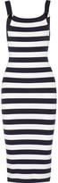 Michael Kors Striped Stretch Merino Wool-blend Dress - Midnight blue