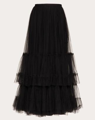Valentino Flounce Tulle Skirt Women Black 100% Poliammide 38