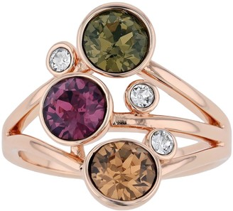 Brilliance+ Brilliance Rose Gold Tone Multicolor Crystal Cluster Ring with Swarovski Crystals