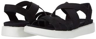 Ecco Flowt Elastic Sandal (Black Cow Nubuck) Women's Shoes
