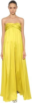 Rochas Strapless Silk Satin Long Dress