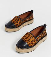 Asos Design DESIGN Wide Fit Julee flatform espadrilles in leopard print