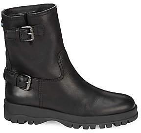Prada Women's Double Buckle Leather Moto Boots