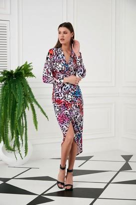 Jenerique Long sleeves print ruffle dress