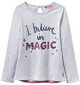Joules Little Joule Girls' I Believe In Magic T-Shirt, Grey