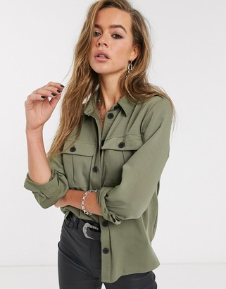 Only shirt with pockets in khaki-Green