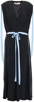 Marni Pleated Crepe De Chine Midi Dress