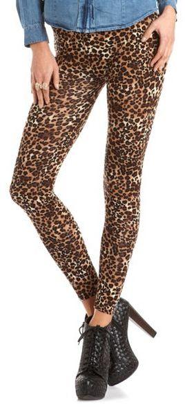 Charlotte Russe Leopard Print Cotton Spandex Legging
