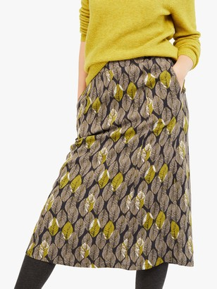White Stuff Juniper Leaf Print Skirt, Rock Grey Print