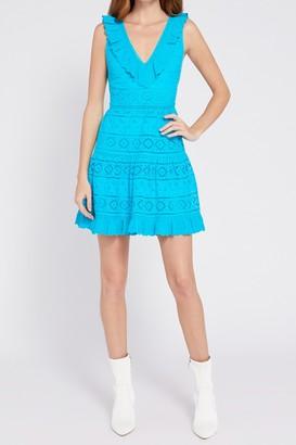 Alice + Olivia Cantara V-Neck Sleeveless Ruffled Eyelet Dress