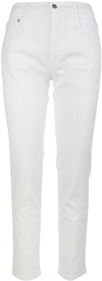 Ermanno Scervino Woman White Jeans With Embroidery