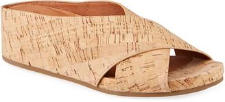 Gentle Souls Gisele Crisscross Cork Wedge Slide Sandals