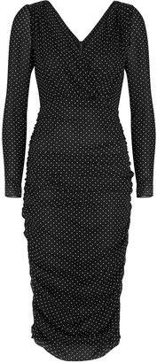 Dolce & Gabbana Black Polka-dot Stretch-chiffon Midi Dress